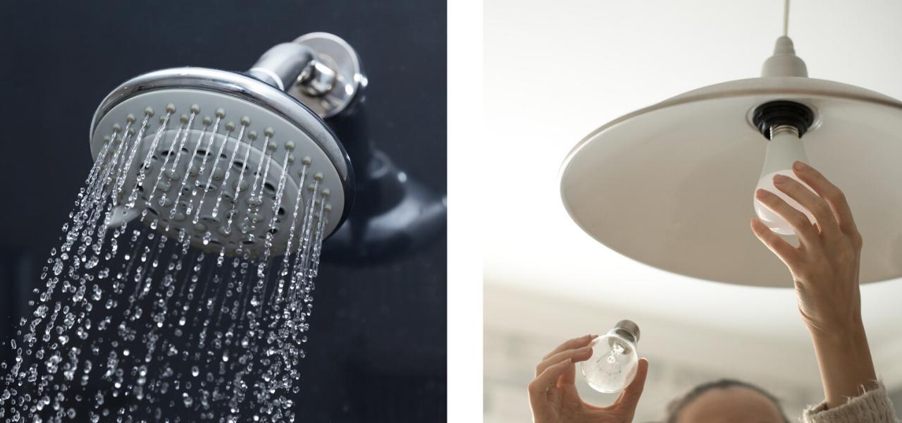 Energy saving shower head and energy efficient light bulb