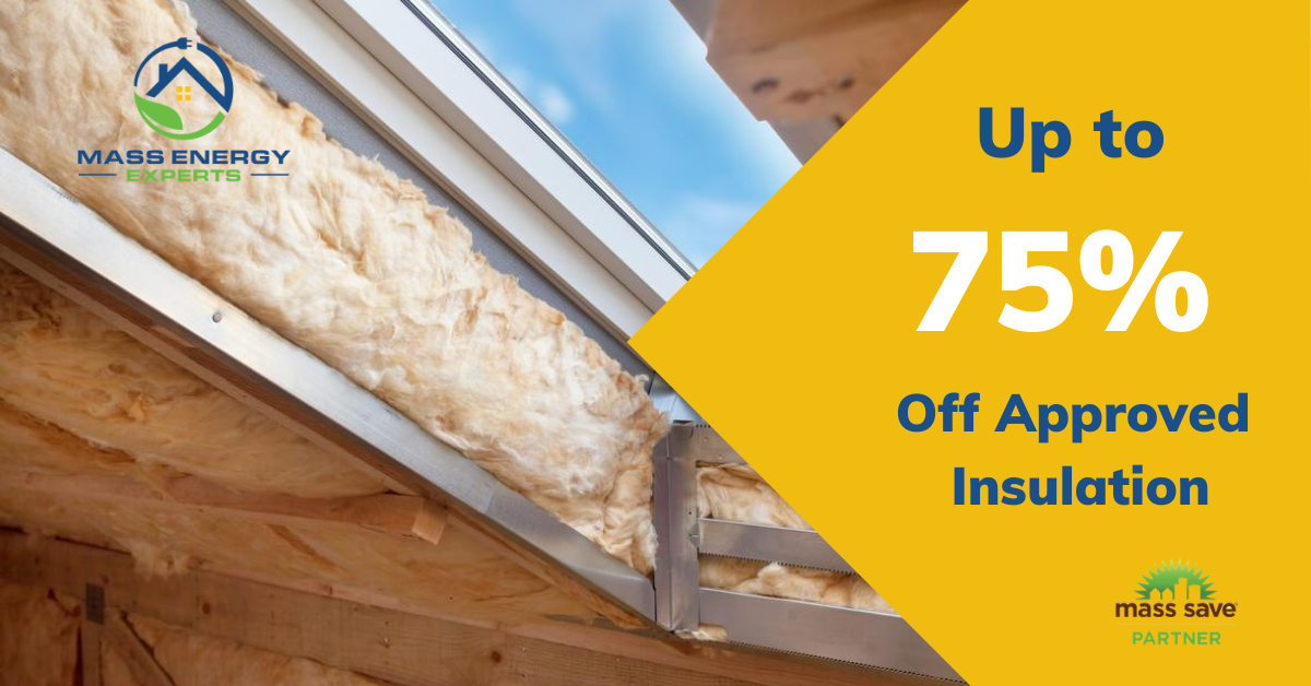 promo up to 75% to 90% off approved insulation, blow-in insulation in background