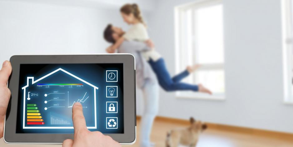 Couple at home during energy audit